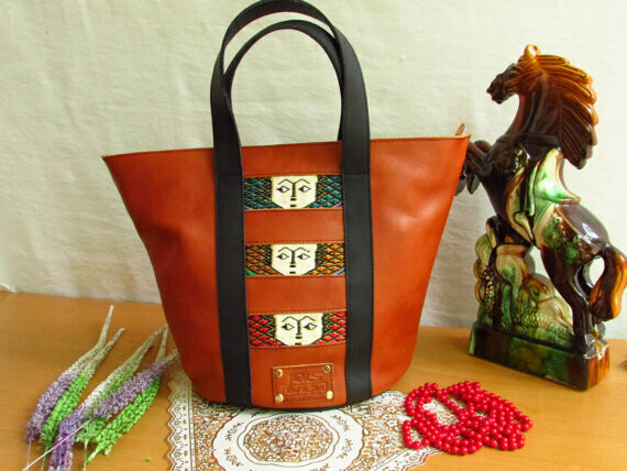 Brown Leather Women Shopping Bag -Mini Shopping Bag
