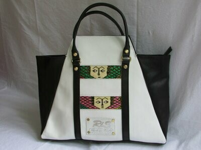 Black and White Leather Bag -White Leather Handbag