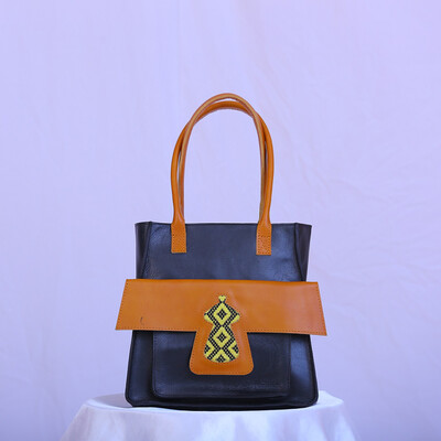 Black and light brown flap leather women's bag leather Bag