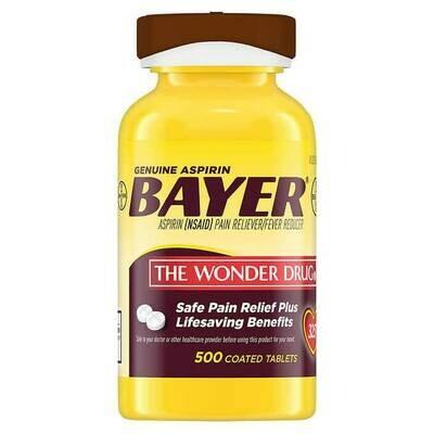 አስፕሪን Aspirin 325 mg. 500 Coated Tablets by Bayer