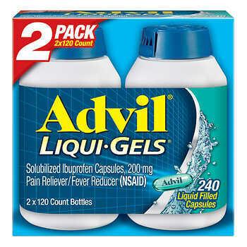 Advil Liqui-Gels Ibuprofen 200 mg. Pain Reliever/Fever Reducer, 240 Capsules