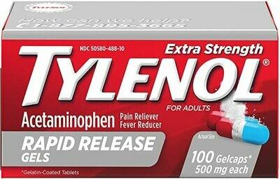 ታይለኖል  Tylenol Extra Strength, 290 Rapid Release Gelcaps