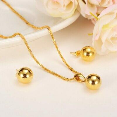 Pendant Necklace Earring Jewelry Ethiopian-Set Bangrui-Beaded-Pendant-Earrings Gold-Color