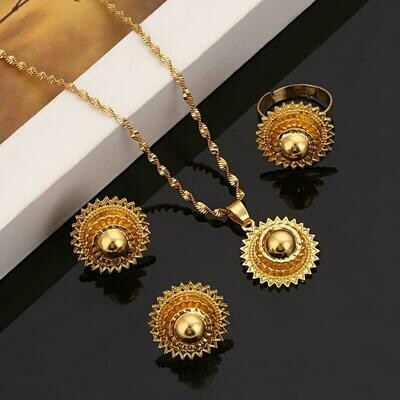 Gold Color Promotion Ethiopian Joias Ouro African Fashion Women Bridal Jewelry Set