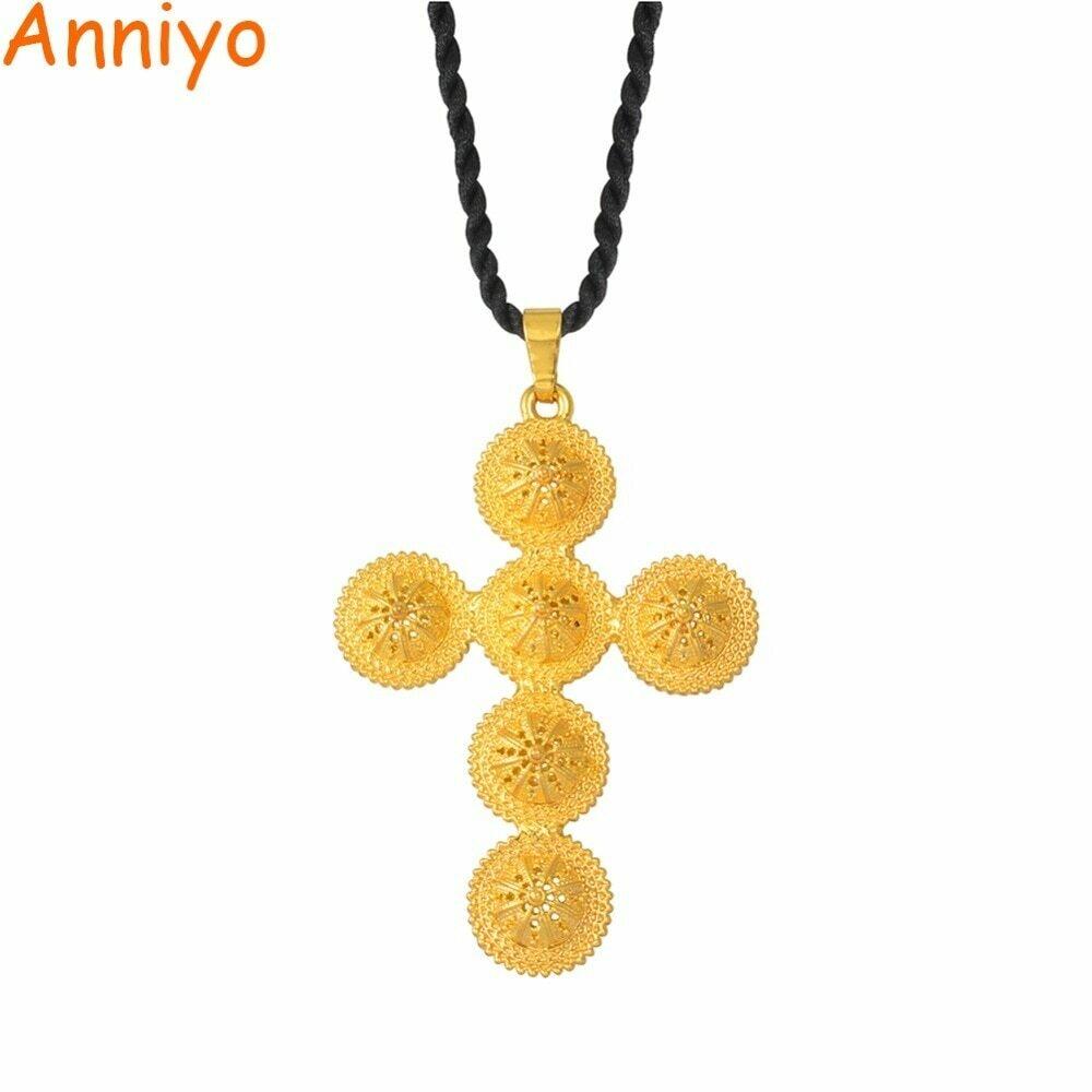 Annio Ethiopian Cross Big Cross Pendant & Black Rope For Women Men Gold Color African