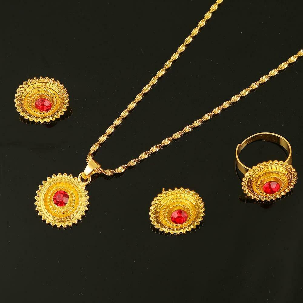 Pendant-Ring Jewelry-Sets Stone Ethiopian Habesha-Nigeria African Trendy