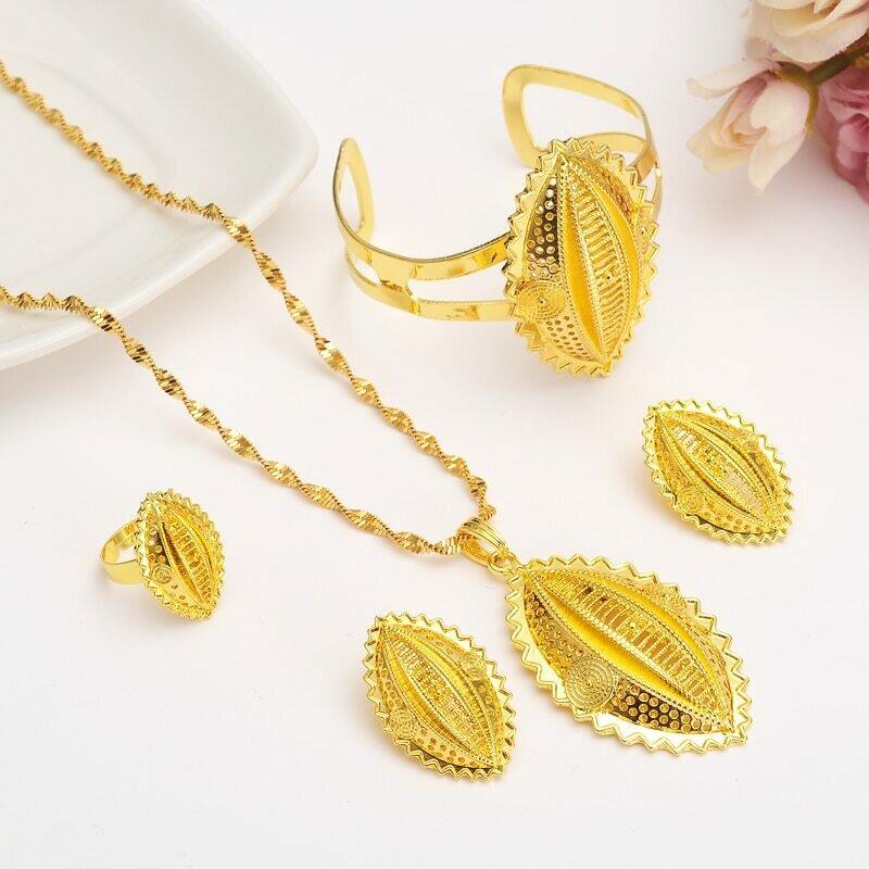 Necklace Earrings Jewelry-Set Habesha Bracelet Men Ethiopian Traditional Gold Wedding-Bridal