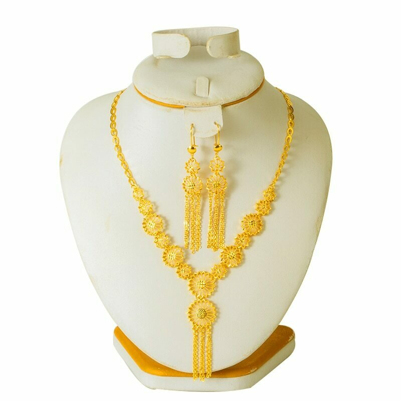 Jewelry-Set Necklace Bridal Dubai Gold-Color Women African Gift for Arabic New