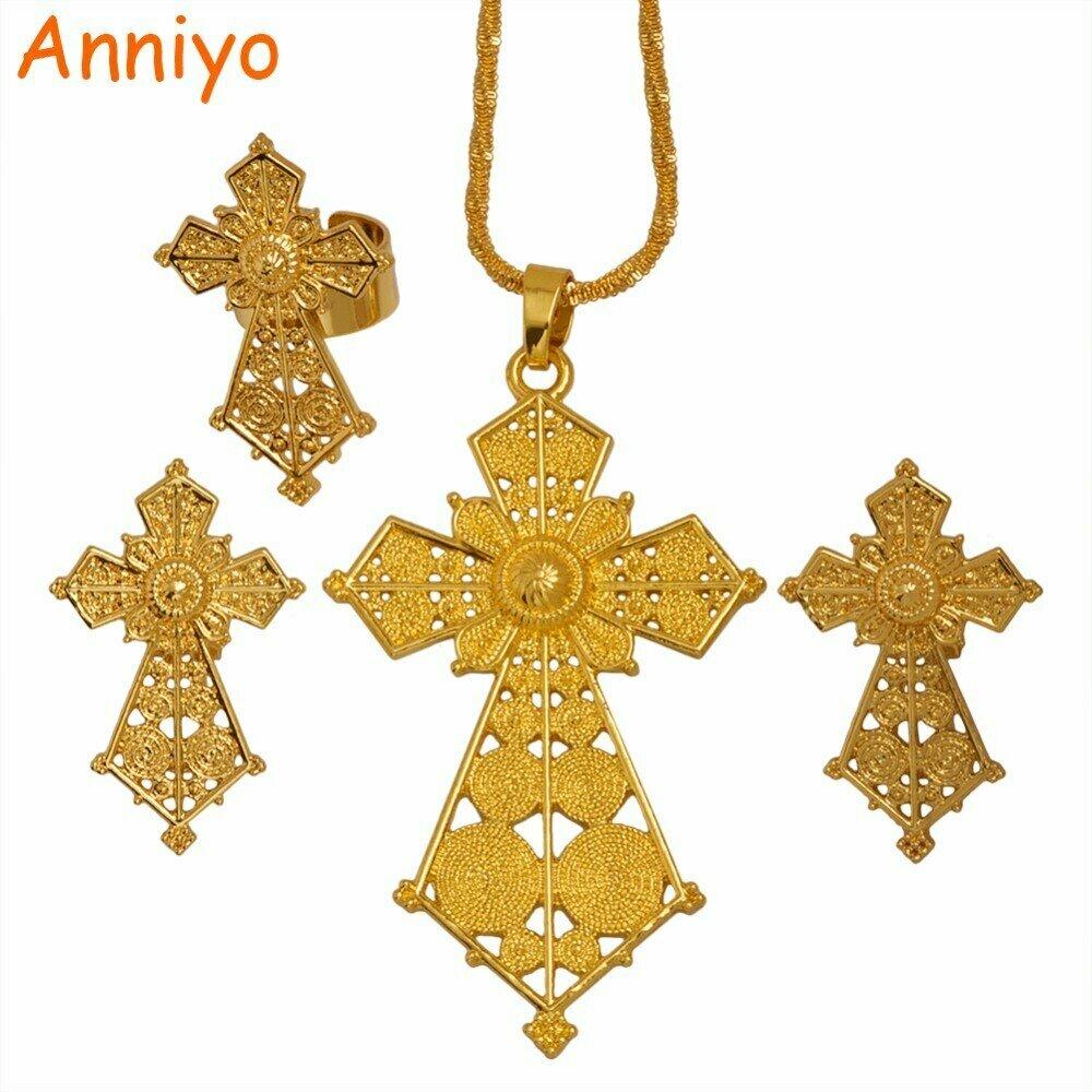 Cross-Jewelry-Set Habesha Ethiopian Earrings/ring African Anniyo Wedding-Gifts Gold-Color