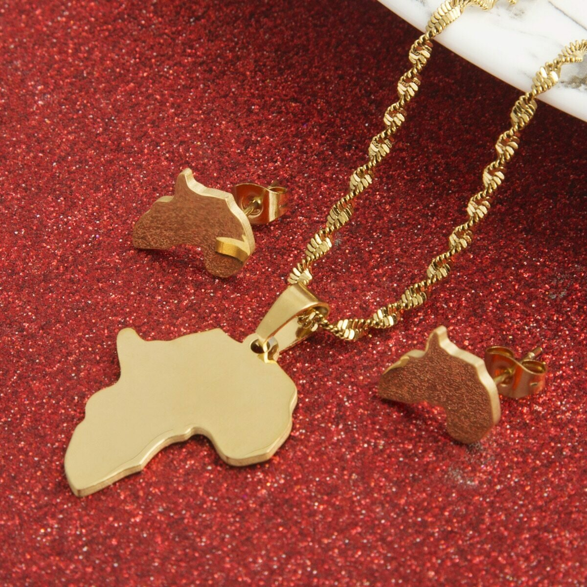 Pendant Necklace Jewelry Earrings Africa-Map Women for Wholesale Hiphop-Item