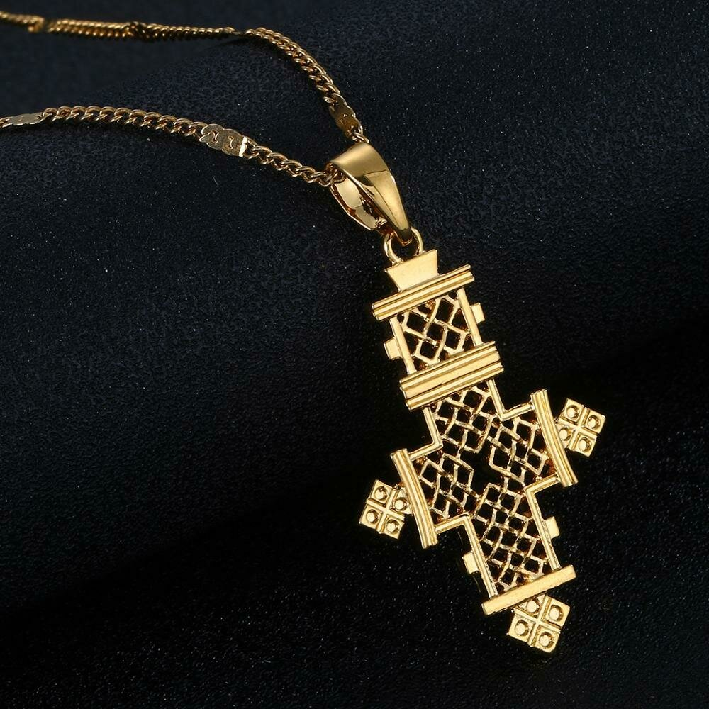 Necklace Jewelry Ethiopian Cross-Chain African 24k-Gold-Color Women Trendy