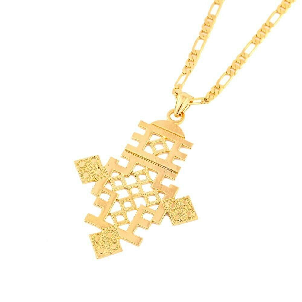 Jewelry Ethiopian Cross Pendant Coptic Necklace Gold-Color Men Women Big-Size African