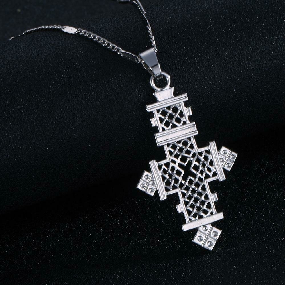 Silver Color African Cross Pendant Necklace Ethiopian Trendy Cross Chain Jewelry