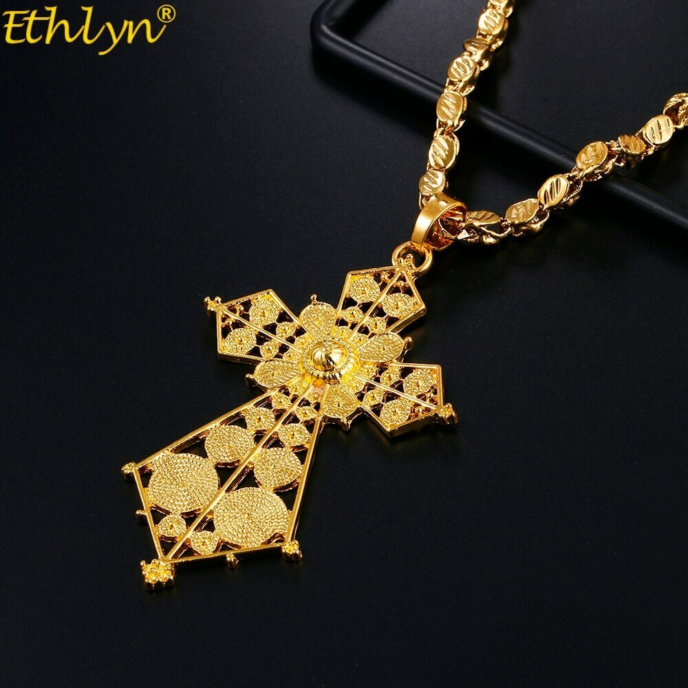 Necklaces Ethiopian Eritrean Jewelry-Accessories Cross-Pendant Ethlyn Traditional Gold-Color