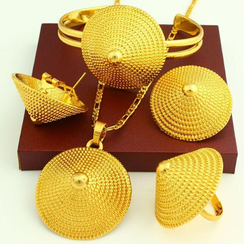 Bridal-Jewelry-Set Ethiopian Wedding Gold-Color Bangle/pendant Nigeria/arab-Items 24K