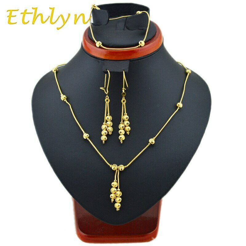 Bracelets-Sets Jewellery Ethiopian-Style Earring Beads Necklaces Ethlyn Gold-Color New-Fashion
