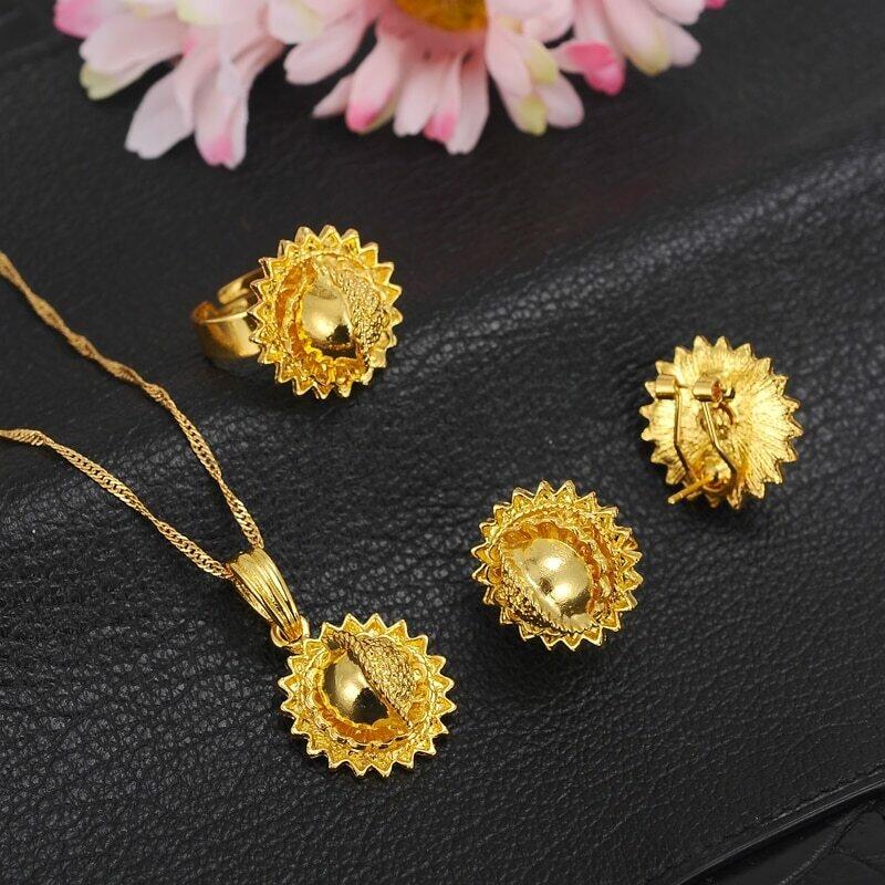 Ring Necklace Habesha Ethiopian Wedding-Eritrea Africa Gift Gold-Color Arab Bangrui