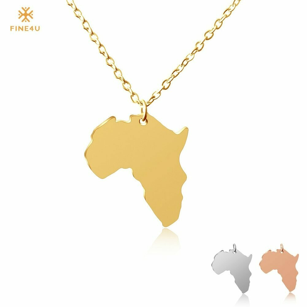 FINE4U N127 Map of Africa Necklaces Pendants For Women 316L Stainless Steel African Maps