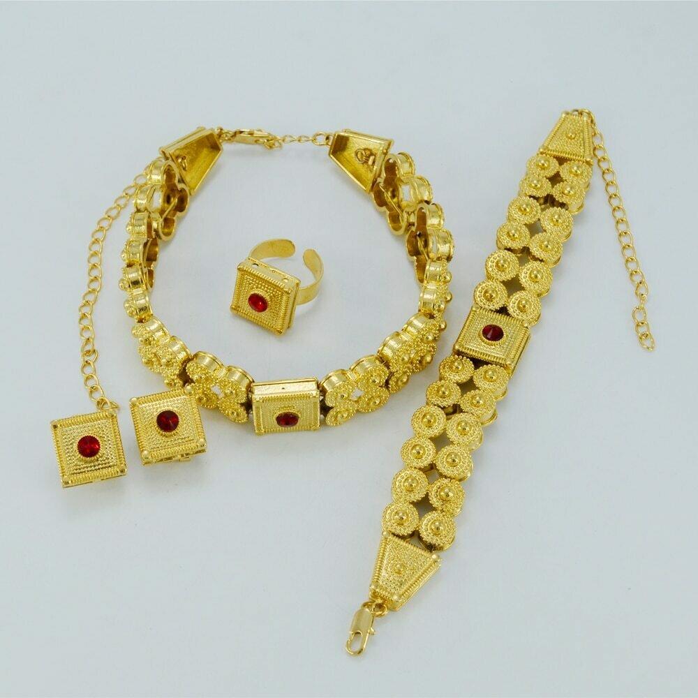 Ring-Habesha Ethiopian Wedding-Jewelry Necklace Gifts-Set Chokers Eritrea Africa Bridal