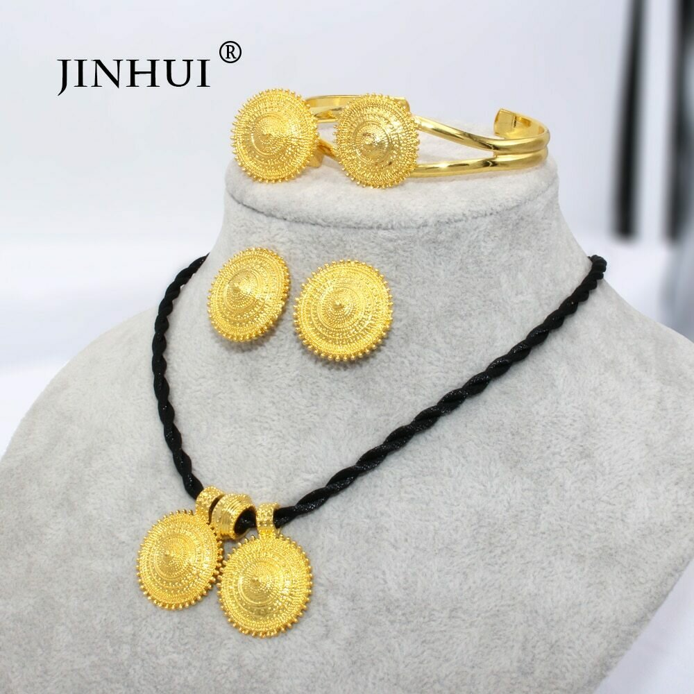 Jewelry-Sets Earring-Ring Pendant Necklace Ethiopian Dubai Eritrea Gold-Gifts Women African