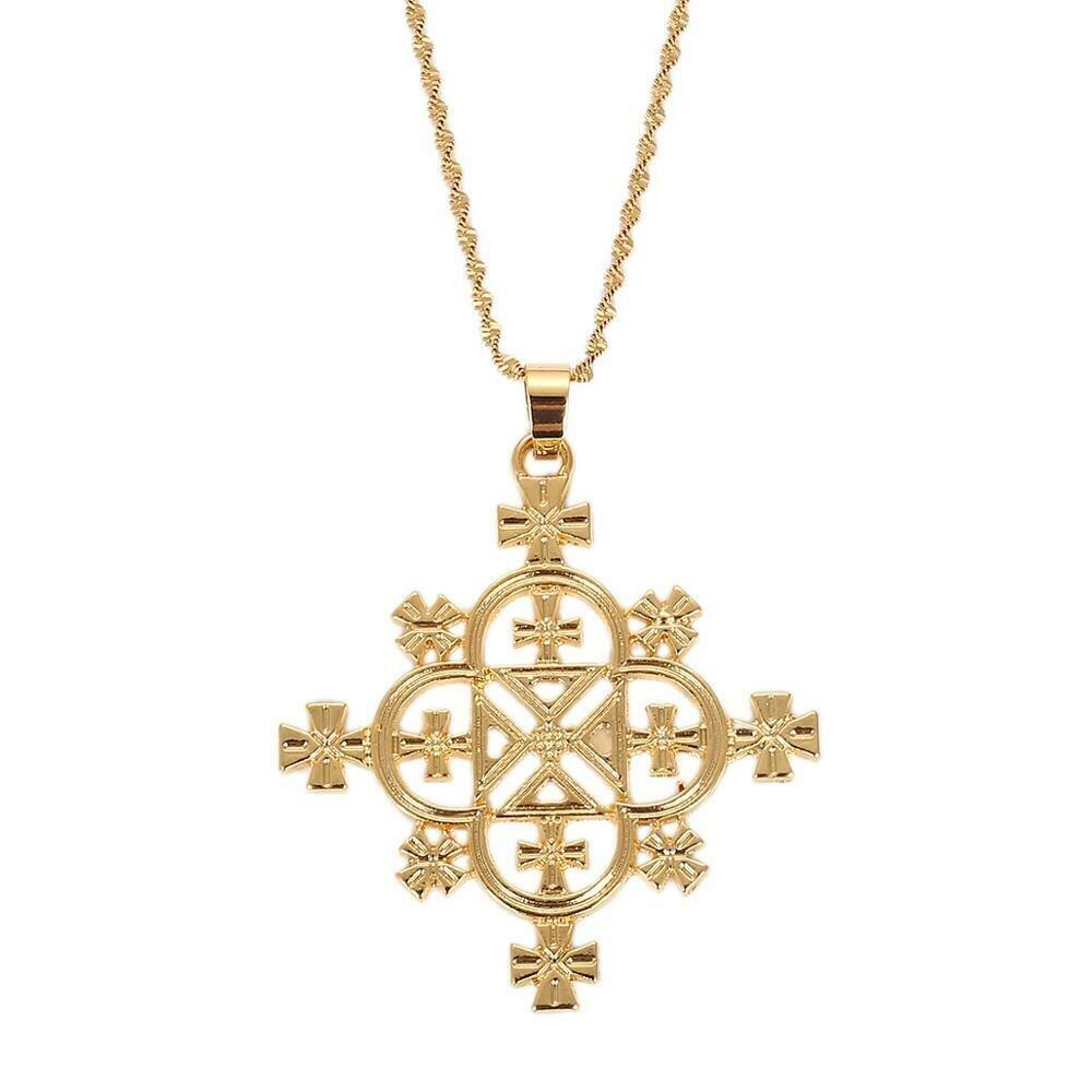 Necklace Ethiopian Cross-Pendants Jewelry Gold-Color Women Habesha Trendy
