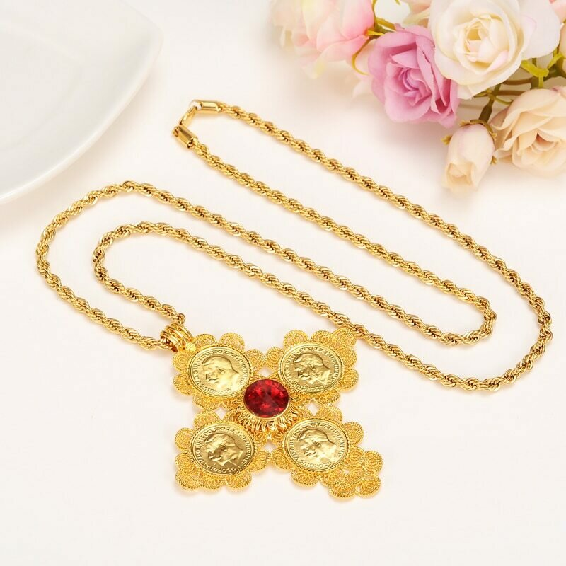 Cross-Pendants Ethiopian Gold Necklaces Jewelry Yellow Africa Habesha Solid 800mm 24k