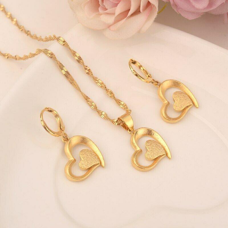 Chain-Earrings Jewelry Ethiopian Wedding Pendant Bijoux Gift Bride Love-Heart-Set Gold-Color