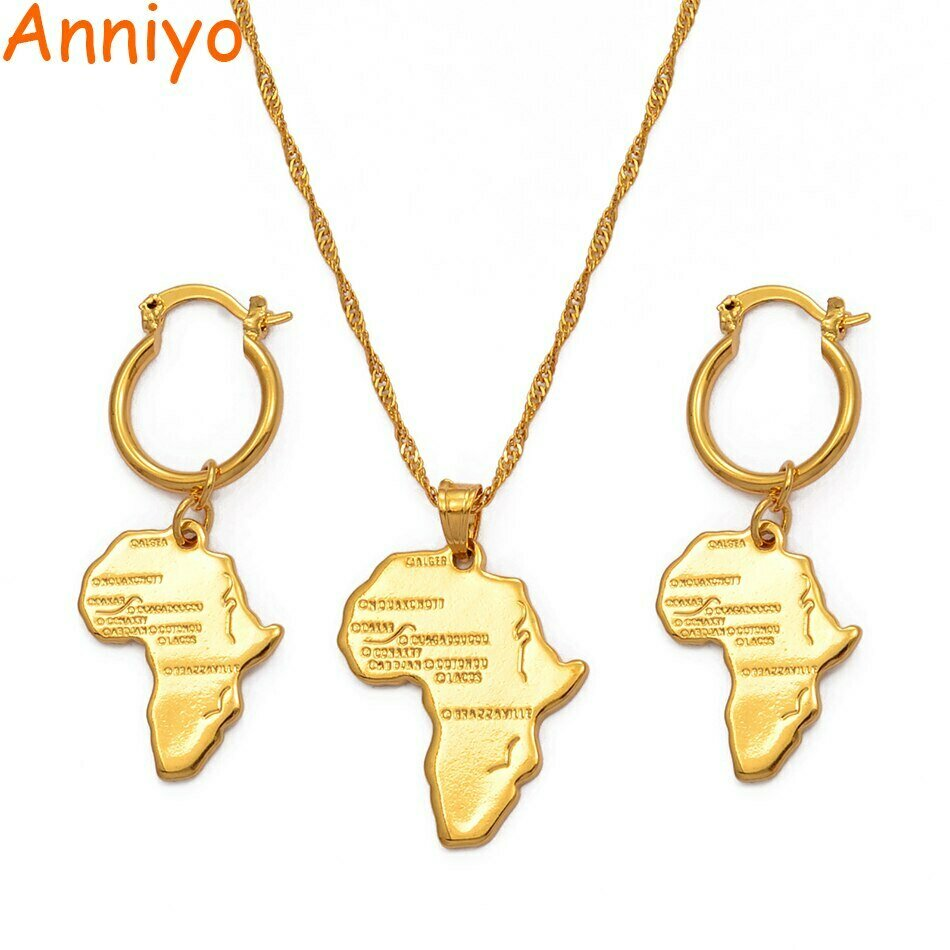 Necklace Earrings Jewelry-Sets Ethiopian African-Map Nigeria Anniyo Girls Gold-Color