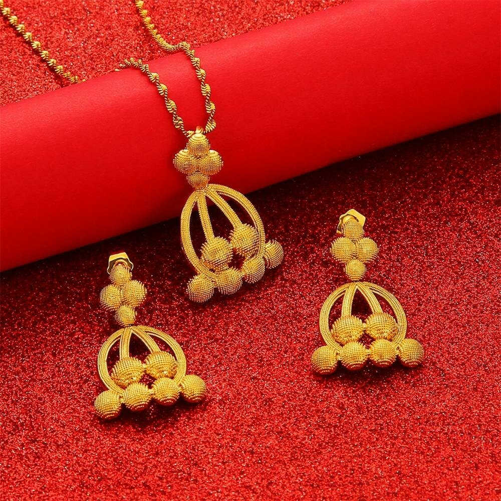 Jewelry-Set Necklaces-Earrings Ethiopian-Pendant African Dubai Gold-Color Women Middle-Eastern