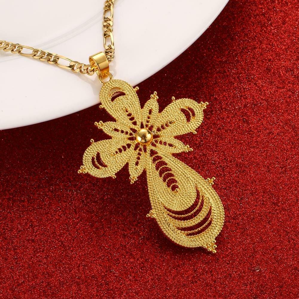 Necklaces Ethiopian Cross-Pendant Jewelry Women for Eritrea Africa Ethnic Bigger