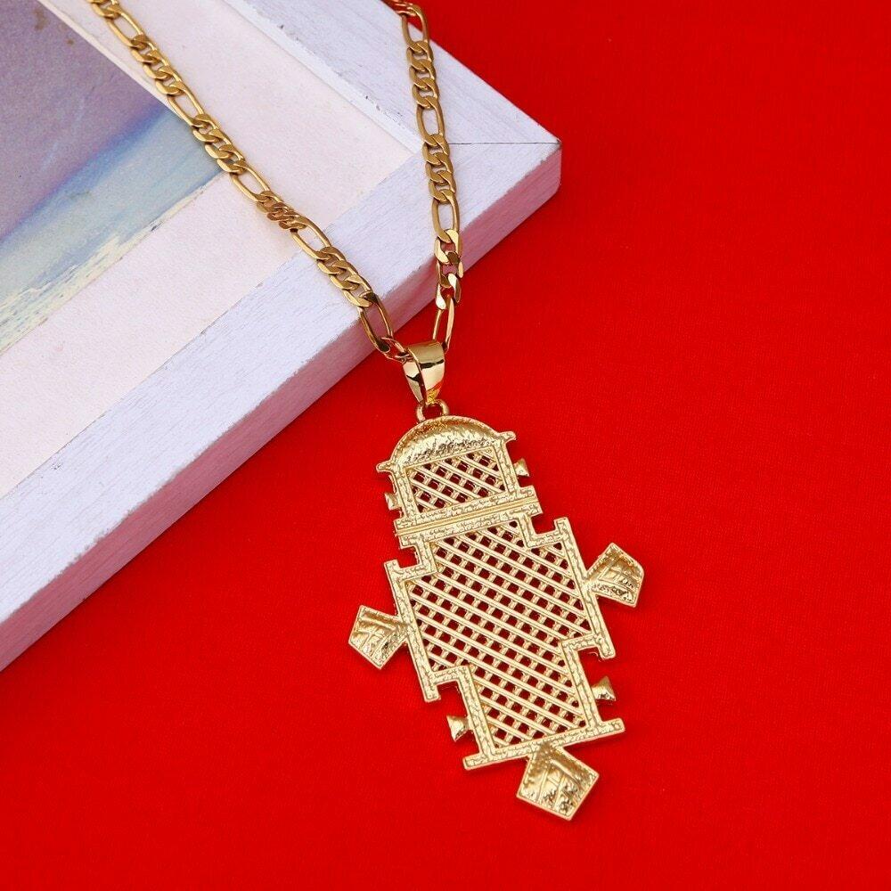 Big Ethiopian Cross Pendant Chain Necklaces Gold Color Eritrea Jewelry Africa Crosses
