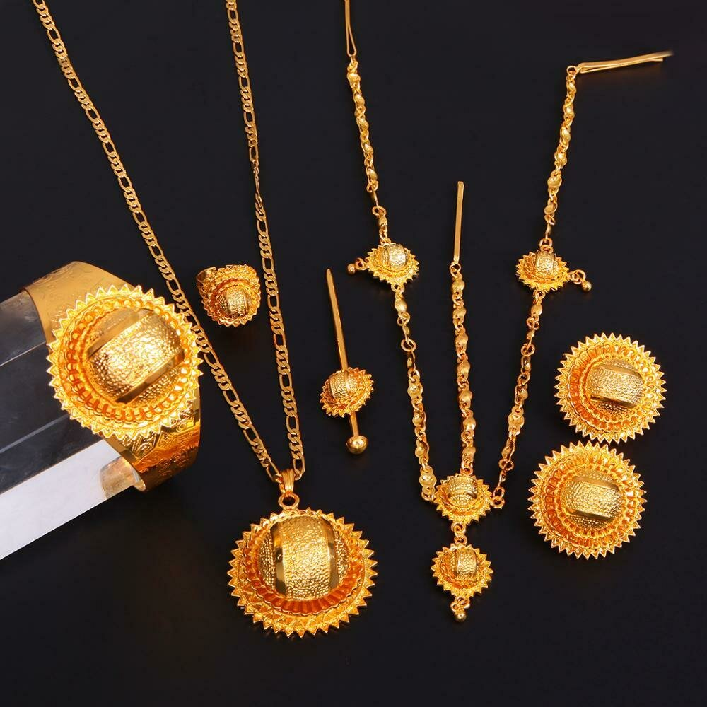 Jewelry-Sets Ethiopian Habesha-Style Wedding-Jewlry Bridal African Women Gold-Color Trendy
