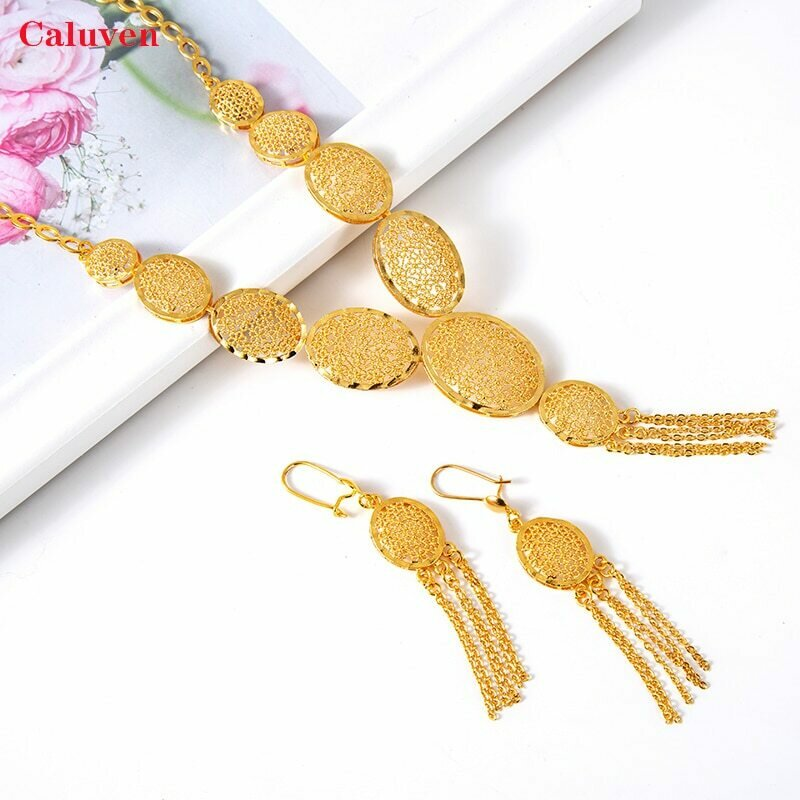 Arabic Jewelry Earrings-Sets Necklace Ethiopian Dubai Gold-Color African Women