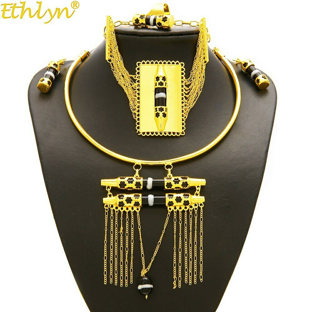 Gold-Color Jewelry-Sets Habesha Ethlyn Enamel-Tassel Nigerian/african-Design Wedding