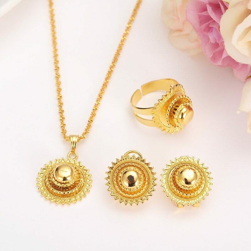 Small-Set Habesha Ethiopian Israel Womenjewelry Eritrea-Sets Gift Earrings/ring-Gold-Color