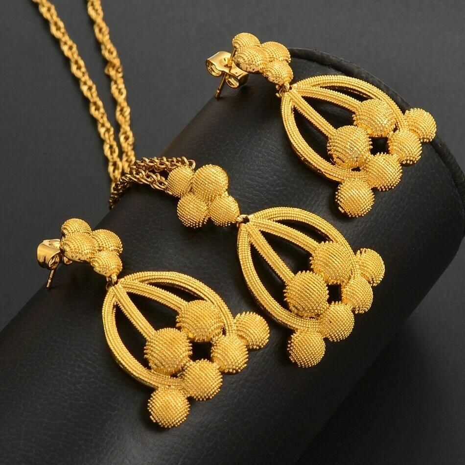 Jewelry-Sets Necklaces-Earrings Ethiopian-Pendant Wedding-Jewellery Arab Dubai Gold-Color