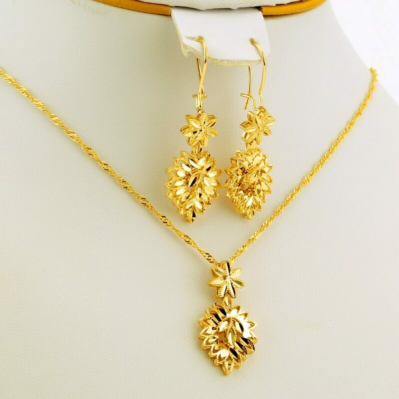 Jewelry-Sets Ethiopian Gifts Bride Dubai African-Accessories Pendant/earrings Wedding