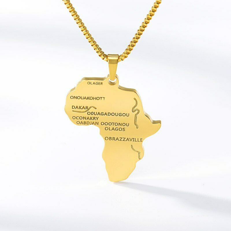 Hiphop Africa Map Pendant Necklace For Women Men Gold Color Ethiopian Jewelry Wholesale