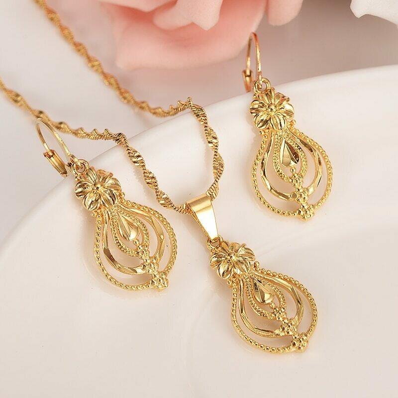 Earrings Jewelry-Set Flower Ethiopian India Gold Bijoux Gifts Bride Dubai African Charm