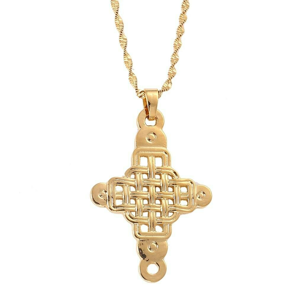 Jewelry Ethiopian Cross-Pendant Christian Coptic Necklace Gold-Color African-Abyssinian