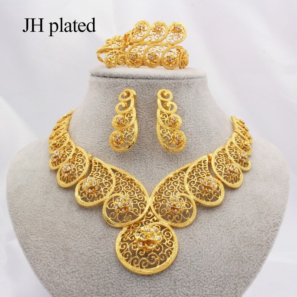 Jewelry-Sets Ring-Bracelet-Sets Necklace Earrings Ethiopian Dubai Wedding-Gifts Gold-Color