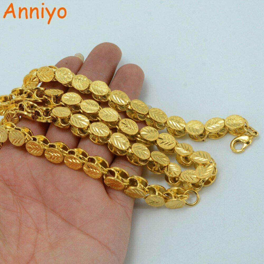 Africa Ethiopian Men Chain Arab Necklaces Women Dubai Anniyo-Length Gold-Color Thick