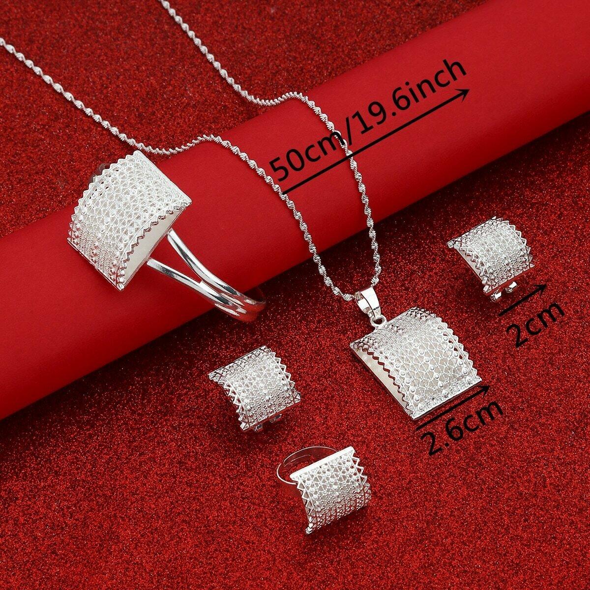 Pendant Necklace Jewelry-Set Ethiopian Ethnic Cross Eritrea Africa Women for Bigger