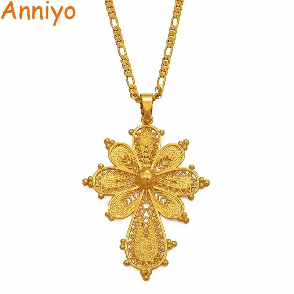 Anniyo Ethiopian Cross Pendant Chain Necklaces for Women Girls.Gold Color Eritrea Jewelry