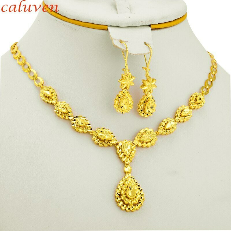 Ethiopian Jewelry Gold-Color-Sets Arab Bride Wedding-Necklace/earrings Gifts Africa Women