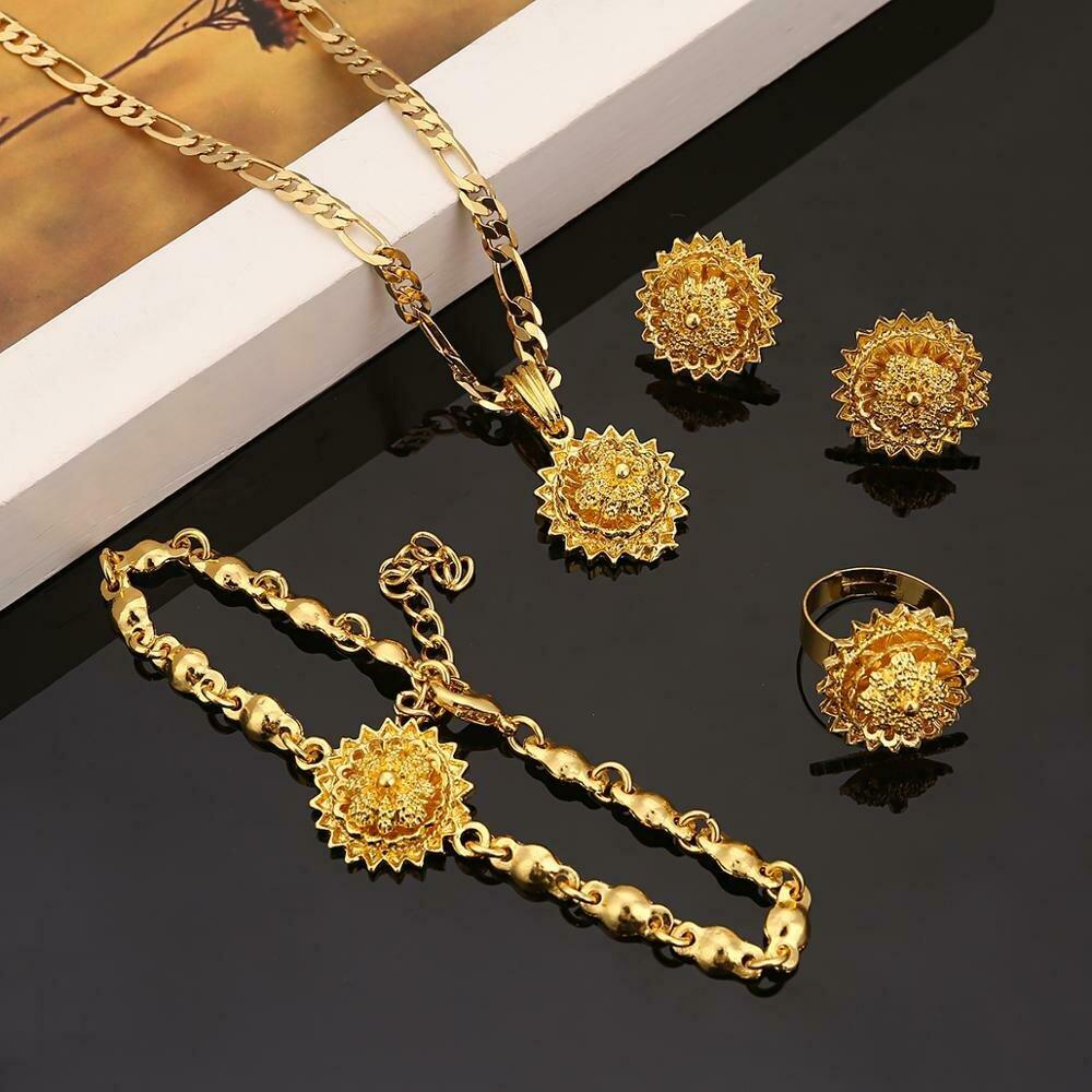 Jewelry-Sets-Accessories Habesha Ethiopian Fashion Bracelet-Ring Gold-Color Women