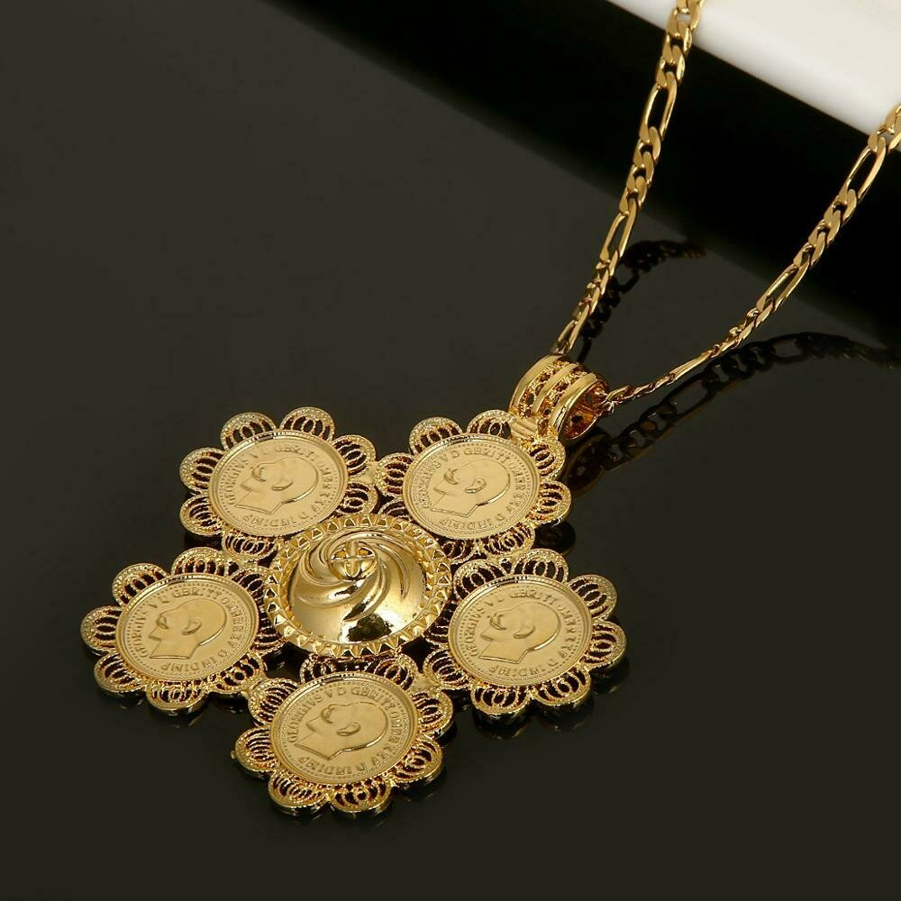 Ethiopian Coin Cross Pendant Necklaces Gold Color Africa Coin Eritrea Chain Jewelry