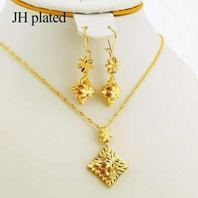 Jewelry-Sets Wedding-Gift Pendant/earring Africa Nigerian Women's Jhplated with