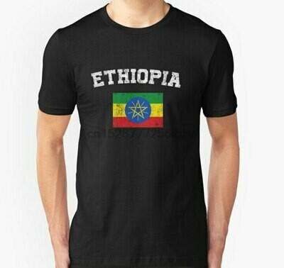 Men T-Shirt Short-Sleeve Tee-Tops Ethiopian Vintage