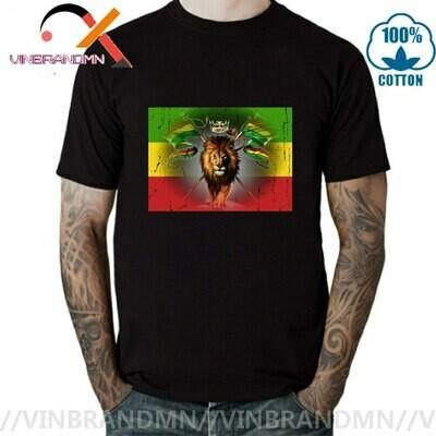 Tshirt Men Short-Sleeve Headphones Tee Ethiopian Jamaican Rasta Lion Cross-Reggae Zion